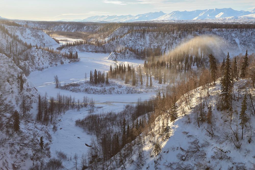 View from Hurricane Bridge,Alaska Railroad trip from Anchorage to Fairbanks in the winter,Alaska,USA