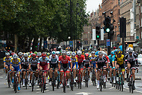 The cyclists pass through Kensingston as they start The Prudential RideLondon Classic. Sunday 29th July 2018<br /> <br /> Photo: Jon Buckle for Prudential RideLondon<br /> <br /> Prudential RideLondon is the world's greatest festival of cycling, involving 100,000+ cyclists - from Olympic champions to a free family fun ride - riding in events over closed roads in London and Surrey over the weekend of 28th and 29th July 2018<br /> <br /> See www.PrudentialRideLondon.co.uk for more.<br /> <br /> For further information: media@londonmarathonevents.co.uk