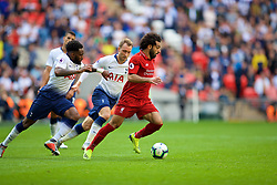 LONDON, ENGLAND - Saturday, September 15, 2018: Tottenham Hotspur's Danny Rose (left), Tottenham Hotspur's Christian Eriksen (center) and Liverpool's Mohamed Salah (right) and  during the FA Premier League match between Tottenham Hotspur FC and Liverpool FC at Wembley Stadium. (Pic by David Rawcliffe/Propaganda)