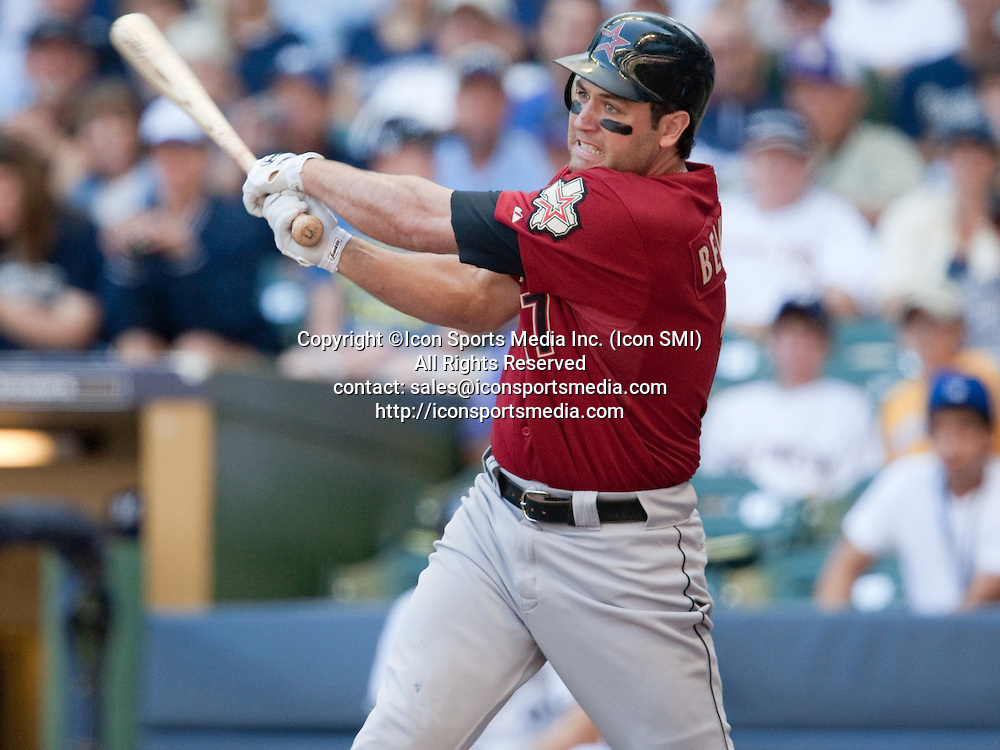 June 30 2010: Lance Berkman of the Houston Astros follows through on an RBI double off Carlos Villanueva at Miller Park, Milwaukee, Wisconsin.