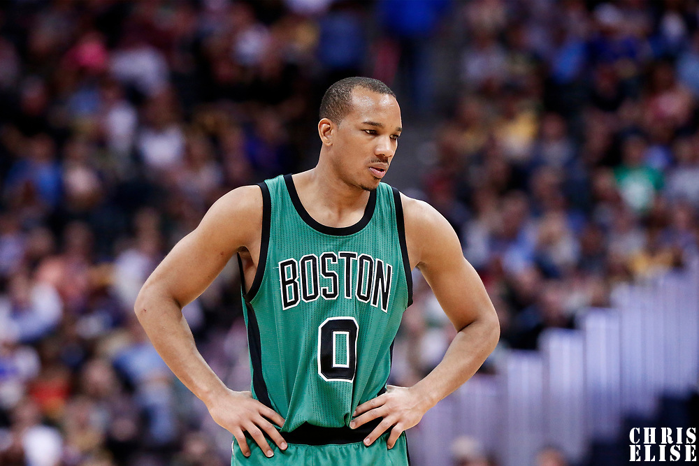 10 March 2017: Boston Celtics guard Avery Bradley (0) is seen during the Denver Nuggets 119-99 victory over the Boston Celtics, at the Pepsi Center, Denver, Colorado, USA.