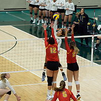 4th year outside hitter Ashlee Sandiford (1) of the Regina Cougars in action during Women's Volleyball home opener on October 20 at Centre for Kinesiology, Health and Sport. Credit: Casey Marshall/Arthur Images