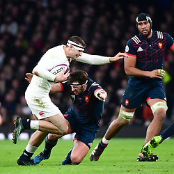 (L-R) Jonny May of England takes on Remi Lamerat of France during the RBS Six Nations match between England and France at Twickenham Stadium on February 4, 2017 in London, United Kingdom. (Photo by Dave Winter/Icon Sport)