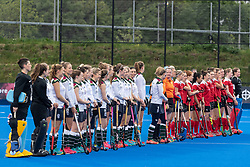 The teams line up before the start. Holcombe v Surbiton - Investec Women's Hockey League Final, Lee Valley Hockey & Tennis Centre, London, UK on 29 April 2018. Photo: Simon Parker