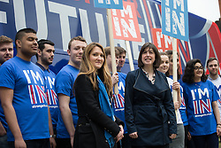 "© Licensed to London News Pictures . 15/04/2016 . Manchester , UK . LUCY THOMAS (Deputy Campaign Director) and LUCY POWELL MP visit Manchester Metropolitan University Business School to campaign for the "" Britain Stronger in Europe "" campaign . Photo credit: Joel Goodman/LNP"