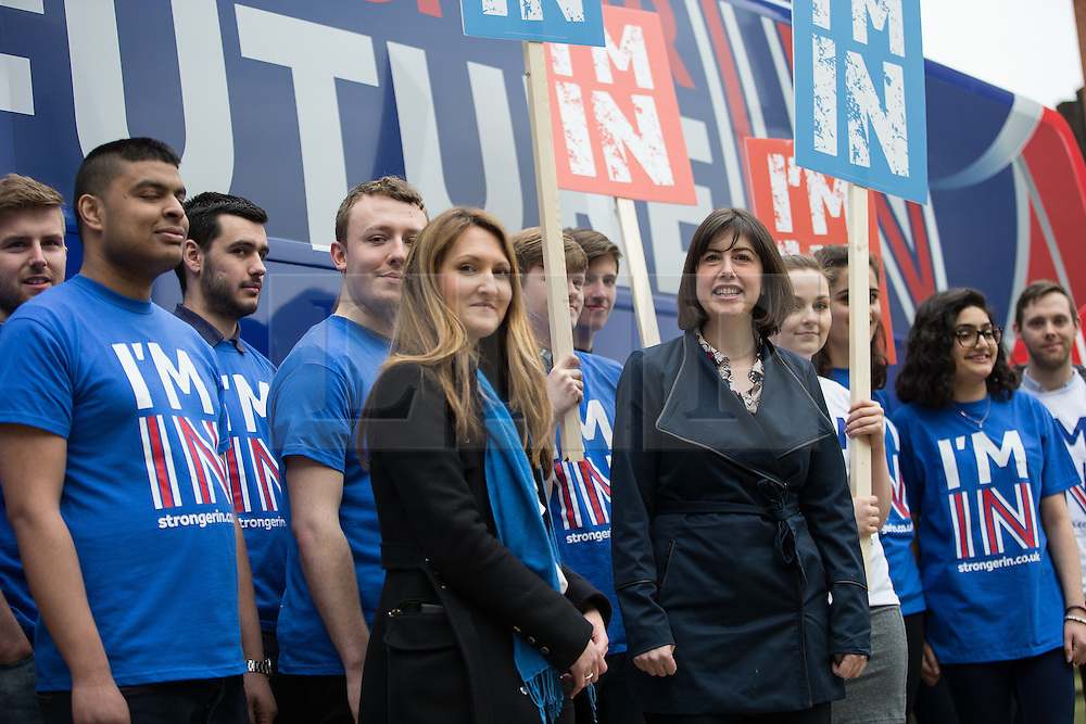 """© Licensed to London News Pictures . 15/04/2016 . Manchester , UK . LUCY THOMAS (Deputy Campaign Director) and LUCY POWELL MP visit Manchester Metropolitan University Business School to campaign for the """" Britain Stronger in Europe """" campaign . Photo credit: Joel Goodman/LNP"""