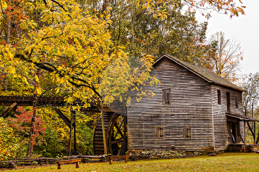 Colorful autumn foliage at Haygood Mill, a working gristmill near Pickens, South Carolina.