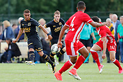 (L-R) Dabney Dos Santos Souza of AZ, Alexys Romao of Olympiakos Piraeus