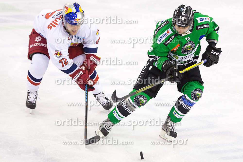 12.10.2014, Hala Tivoli, Ljubljana, SLO, EBEL, HDD Telemach Olimpija Ljubljana vs EC Red Bull Salzburg, 10. Runde, in picture John Hughes (EC Red Bull Salzburg, #72)  vs Matej Hocevar (HDD Telemach Olimpija, #14) during the Erste Bank Icehockey League 10. Round between HDD Telemach Olimpija Ljubljana and EC Red Bull Salzburg at the Hala Tivoli, Ljubljana, Slovenia on 2014/10/12. Photo by Matic Klansek Velej / Sportida