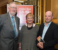 Sean Stewart, Stewart Construction , Anne O'Maile Chair, Music for Galway with Cyril Briscoe Board member Music for Galway  in Hotel Meyrick for the launch of Music for Galway's new International Concert Season 'Aimez-vous Brahms?' opening on September 28th and running until May 18th including main concert series, Lunchtime series and Midwinter Festival.  . Photo: xposure.