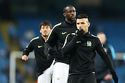 Sergio Agüero of Manchester City warming up before the Champions League round of 16 match between Manchester City and Dynamo Kiev at the Etihad Stadium, Manchester, England on 15 March 2016. Photo by Simon Brady.