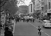 May Day Demonstration March.       (N72)..1981..01.05.1981..05.01.1981..1st May 1981..As part of International Workers Day the Irish Congress of Trades Unions organised a protest march in Dublin. The march to Dail Éireann was to highlight the inequities in wages,taxes etc carried by the working classes in Ireland. The May Day protest in Dublin was mirrored across Europe..Image shows the Dublin Council of Trade Unions leading the march from Parnell Square down through O'Connell Street on their way to Government Buildings.