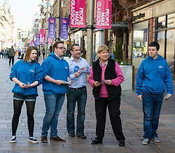 Veteran campaigner Annabel Goldie MSP  joined activists operating a street stall on Buchannan Street in Glasgow. There was some difficulty in encouraging anybody to hear what Ms Goldie had to say.<br /> Glasgow 8 April 2015  Ger Harley, StockPix.eu