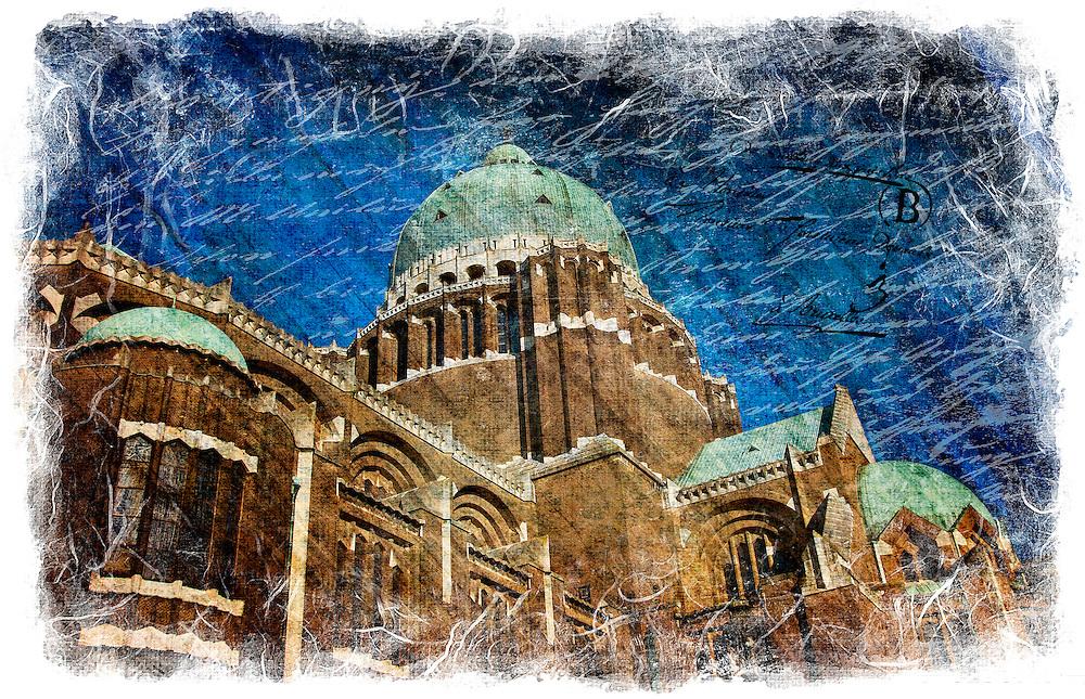 Basilica of Koekelberg, Brussels, Belgium - Forgotten Postcard digital art collage
