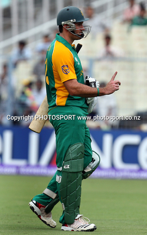South African captain Graeme Smith go back pavilion after run out during the ICC Cricket World Cup - 34th Match, Group B South Africa vs Ireland Played at Eden Gardens, Kolkata, 15 March 2011 - day/night