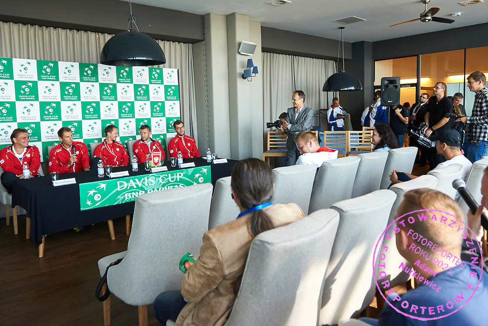(L-R) Marcin Matkowski and Lukasz Kubot and Radoslaw Szymanik - captain national team and Michal Przysiezny and Jerzy Janowicz all from Poland during official draw one day before Davis Cup Tie World Group Play-off Poland v Slovakia at Mondo di Vinegre Restaurant in Gdynia, Poland.<br /> <br /> Poland, Gdynia, September 17, 2015<br /> <br /> Picture also available in RAW (NEF) or TIFF format on special request.<br /> <br /> For editorial use only. Any commercial or promotional use requires permission.<br /> <br /> Adam Nurkiewicz declares that he has no rights to the image of people at the photographs of his authorship.<br /> <br /> Mandatory credit:<br /> Photo by &copy; Adam Nurkiewicz / Mediasport