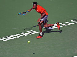 March 9, 2019 - Indian Wells, CA, U.S. - INDIAN WELLS, CA - MARCH 09:  Gael Monfils (FRA) in action during  his 2nd round men's singles match at the BNP Paribas Open on March 09, 2019, played at the Indian Wells Tennis Garden in Indian Wells, CA (Photo by Cynthia Lum/Icon Sportswire) (Credit Image: © Cynthia Lum/Icon SMI via ZUMA Press)