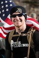 West Point, New York - A runner smiles before the start of the West Point Half-Marathon Fallen Comrades Run at the United States Military Academy on March 29, 2015.