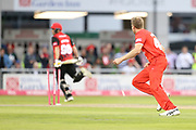 Lancashires James Falkner hits the wicket during the Vitality T20 Blast North Group match between Lancashire Lightning and Durham Jets at the Emirates, Old Trafford, Manchester, United Kingdom on 7 August 2018.