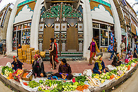 Sidewalk vegetable Market, Main Bazaar Road, Old Leh, Ladakh, Jammu and Kashmir State, India.