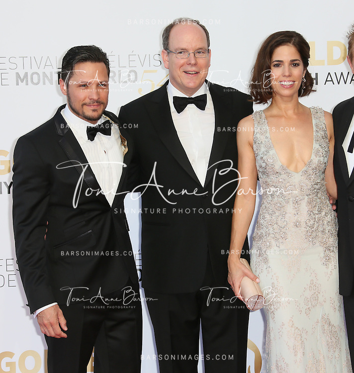 MONTE-CARLO, MONACO - JUNE 11:  (L-R) Nick Wechler, Prince Albert II of Monaco and Ana Ortiz attend the Closing Ceremony and Golden Nymph Awards of the 54th Monte Carlo TV Festival on June 11, 2014 in Monte-Carlo, Monaco.  (Photo by Tony Barson/FilmMagic)