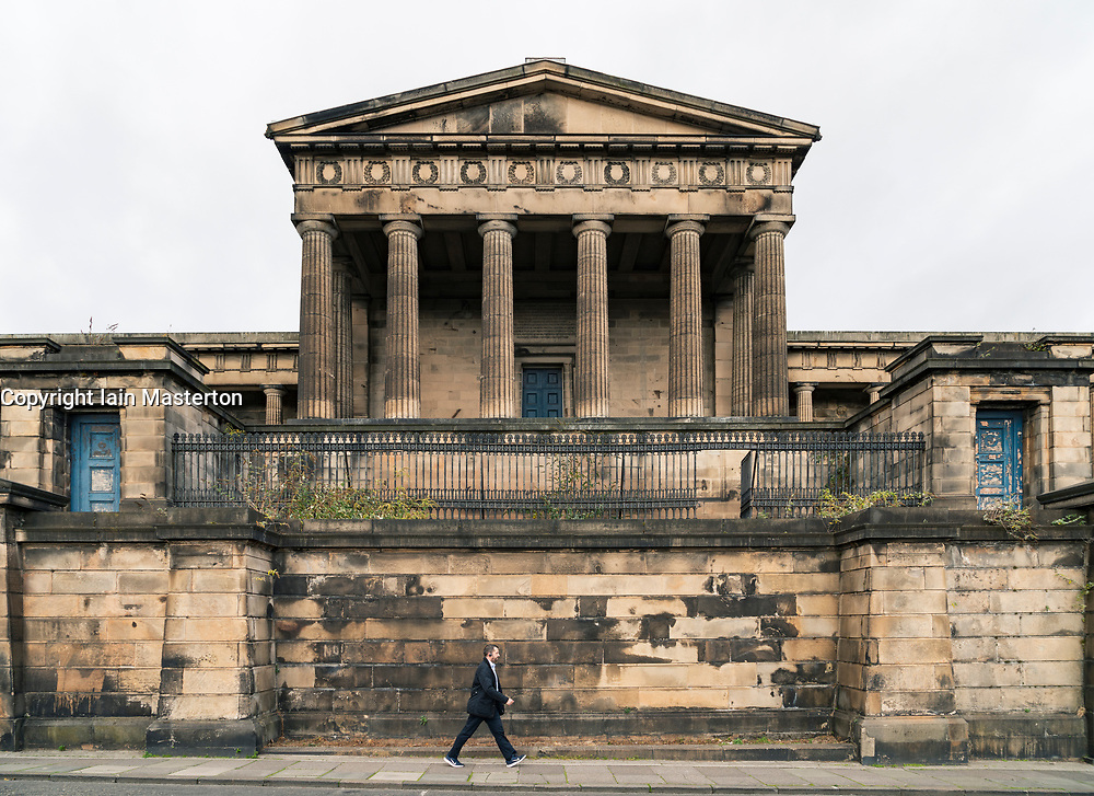 Exterior view of former Old Royal High School on Calton Hill in Edinburgh, Scotland, UK.