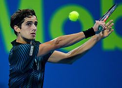 Pierre-Hugues Herbert of France returns the ball to Dominic Thiem of Austria during their first round of ATP Qatar Open Tennis match at the Khalifa International Tennis Complex in Doha, capital of Qatar, on January 01, 2019. Herbert won 2-0  (Credit Image: © Nikku/Xinhua via ZUMA Wire)