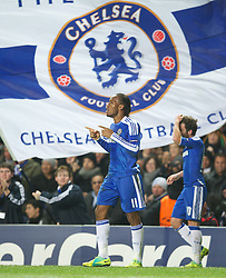 06.12.2011, Stamford Bridge, London, ENG, UEFA CL, Gruppe E, FC Chelsea (GBR) vs FC Valencia (ESP), im Bild Chelsea's Didier Drogba celebrates scoring the third goal against Valencia CF during the football match of UEFA Champions league, group E, between FC Chelsea (GBR) and FC Valencia (ESP), at Stamford Bridge Stadium, London, United Kingdom on 06/12/2011. EXPA Pictures © 2011, PhotoCredit: EXPA/ Sportida/ David Rawcliff..***** ATTENTION - OUT OF ENG, GBR, UK *****