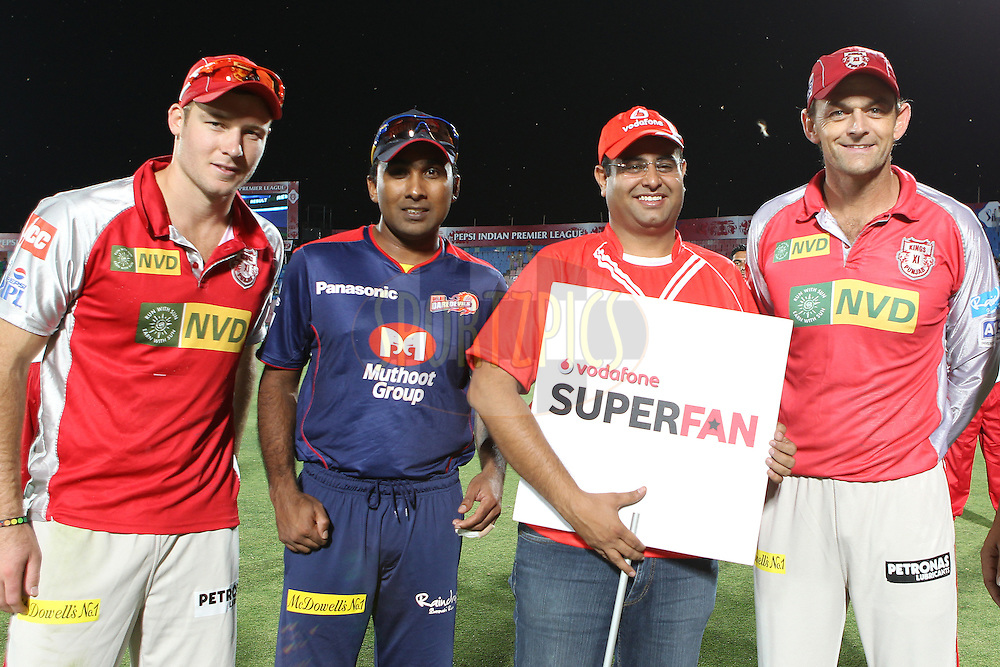 Vodafone Superfan poses with players during match 67 of the Pepsi Indian Premier League between The Kings XI Punjab and the Delhi Daredevils held at the HPCA Stadium in Dharamsala, Himachal Pradesh, India on the on the 16th May 2013..Photo by Ron Gaunt-IPL-SPORTZPICS ..Use of this image is subject to the terms and conditions as outlined by the BCCI. These terms can be found by following this link:..http://www.sportzpics.co.za/image/I0000SoRagM2cIEc