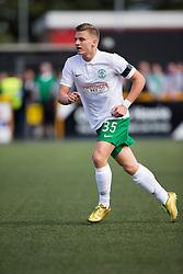 Hibernian's Jason Cummings.<br /> Alloa Athletic 2 v 1 Hibernian, Scottish Championship game played 30/8/2014 at Alloa Athletic's home ground, Recreation Park, Alloa.