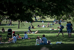 © Licensed to London News Pictures. 25/05/2020. London, UK. Members of the public sit out on Primrose Hill in North London on a warm summers day, during lockdown. Government has announced a series of measures to slowly ease lockdown, which was introduced to fight the spread of the COVID-19 strain of coronavirus. Photo credit: Ben Cawthra/LNP