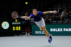 October 30, 2017 - Paris, France - The French player NICOLAS MAHUT returns the ball to Canadian player Vasek Pospisil during the tournament Rolex Paris Master at Paris AccorHotel Arena Stadium in Paris France. Mahut won 7-5 5-7 7-6 (Credit Image: © Pierre Stevenin via ZUMA Wire)