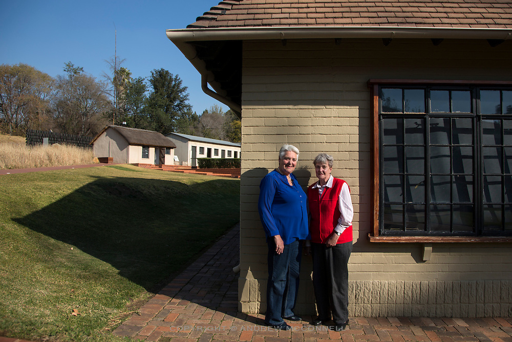 Celeste De Lang, 69, from Durban now living in Springs,<br /> and Meegan MacKawa, 75, born and living in Springs, pictured at Liliesleaf Farm, in the Rivonia suburb of Johannesburg, South Africa. Liliesleaf Farm was a hideout used by the ANC, including Nelson Mandela, during the early 1960's. 19 ANC leaders were arrested here in 1963.