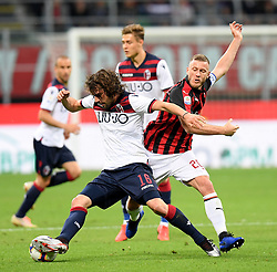 MILAN, May 7, 2019  AC Milan's Ignazio Abate (R) vies with Bologna's Andrea Poli during a Serie A soccer match between AC Milan and Bologna in Milan, Italy, May 6, 2019. AC Milan won 2-1. (Credit Image: © Daniele Mascolo/Xinhua via ZUMA Wire)