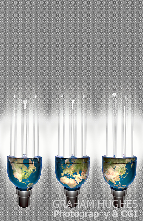 Energy efficient light bulbs with world continents on base