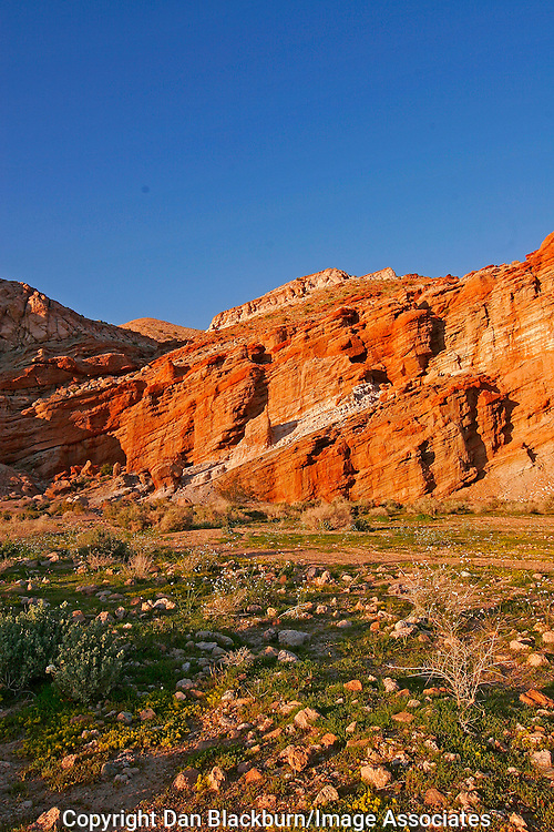 Sunset in Red Rock canyon in the Mojave Desert in California.