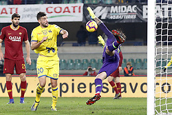 February 8, 2019 - Verona, vr, Italia - Foto Paola Garbuio/LaPresse.08 febbraio 2019 Verona, Italia.sport.calcio.Chievo Verona  vs Roma- Campionato di calcio Serie A TIM 2018/2019 - stadio Bentegodi.Nella foto: occasione di djordjevic parata da mirante..Photo Paola Garbuio/LaPresse.february  08, 2019 Verona, Italy.sport.soccer.Chievo Verona  vs Roma  - Italian Football Championship League A TIM 2018/2019 -  stadio Bentegodi..In the pic: djordjevic,mirante (Credit Image: © Paola Garbuio/Lapresse via ZUMA Press)