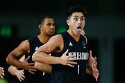 Reuben Te Rangi of New Zealand performs the haka with the team prior to the Men's Bronze Medal Game between the New Zealand Tall Blacks and Scotland. Gold Coast 2018 Commonwealth Games, Basketball, Gold Coast Convention & Exhibition Centre, Gold Coast, Australia. 15 April 2018 © Copyright Photo: Anthony Au-Yeung / www.photosport.nz