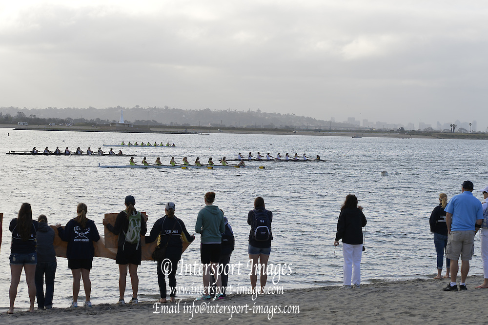 San Diego, California. USA. General Views, Crew Racing, Spectators watch from the Beach. 2013 Crew Classic Regatta, Mission Bay.  07:47:47.  Saturday  06/04/2013   [Mandatory Credit. Peter Spurrier/Intersport Images]  ..