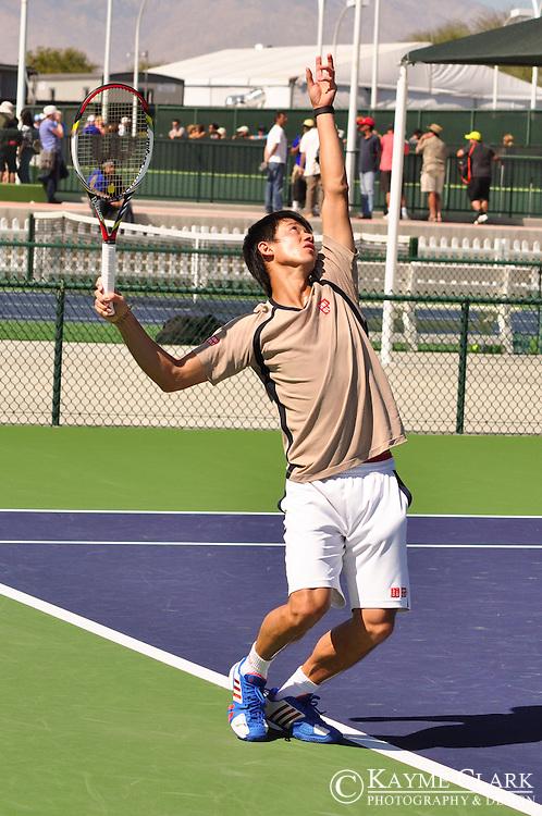 Kei Nishikori at the BNP Paribas Open in Indian Wells, California.