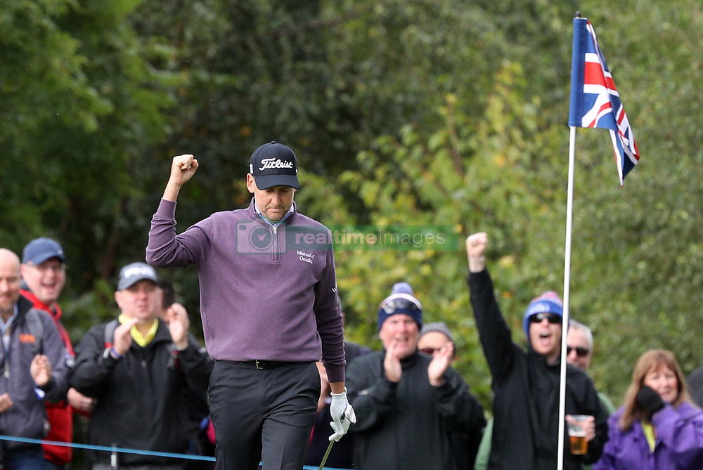England's Ian Poulter reacts after a birdie on the 3rd during day three of the British Masters at Close House Golf Club, Newcastle.