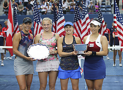 NEW YORK, Sept. 11, 2017  Yung-Jan Chan (1st, R) of Chinese Taipei, Martina Hingis (2nd, R) of Switzerland, Lucie Hradecka (1st, L) and Katerina Siniakova of the Czech Republic hold their trophies during the awarding ceremony of the women's doubles match at the 2017 US Open in New York, the United States, Sept. 10, 2017. Yung-Jan Chan and Martina Hingis beat Lucie Hradecka and Katerina Siniakova 2-0 in the final match to claim the title. (Credit Image: © Wang Ying/Xinhua via ZUMA Wire)