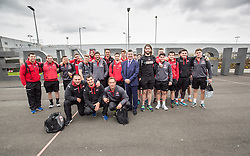 Matt shadowing Edinburgh Airport's chief exec Gordon Dewar as he runs Scotland's busiest airport. Pic with the Edinburgh rugby team as they fly out to Cork to play Munster.