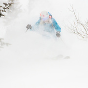 Jess McMillan skis through whiteout conditions in the backcountry of the Tetons near Jackson Hole Resort in Teton Village, Wyoming.