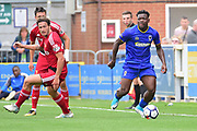 AFC Wimbledon Defender Deji Oshilaja (4) during the Pre-Season Friendly match between AFC Wimbledon and Watford at the Cherry Red Records Stadium, Kingston, England on 15 July 2017. Photo by Jon Bromley.