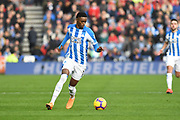 Adama Diakhaby of Huddersfield Town (11) in action during the Premier League match between Huddersfield Town and Manchester City at the John Smiths Stadium, Huddersfield, England on 20 January 2019.