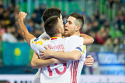 Spain players celebrate during futsal match between Kazakhstan and Spain in Semifinals of UEFA Futsal EURO 2018, on February 8, 2018 in Arena Stozice, Ljubljana, Slovenia. Photo by Ziga Zupan / Sportida