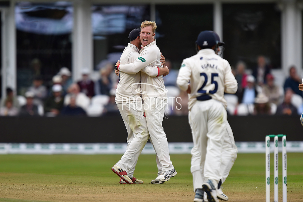 Wicket - Simon Harmer of Essex celebrates taking the wicket of Tom Banton of Somerset during the Specsavers County Champ Div 1 match between Somerset County Cricket Club and Essex County Cricket Club at the Cooper Associates County Ground, Taunton, United Kingdom on 23 September 2019.