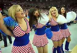 Croatian cheerleaders FlyGirlz during 21st Men's World Handball Championship 2009 Main round Group I match between National teams of Croatia and Hungary, on January 24, 2009, in Arena Zagreb, Zagreb, Croatia.  (Photo by Vid Ponikvar / Sportida)