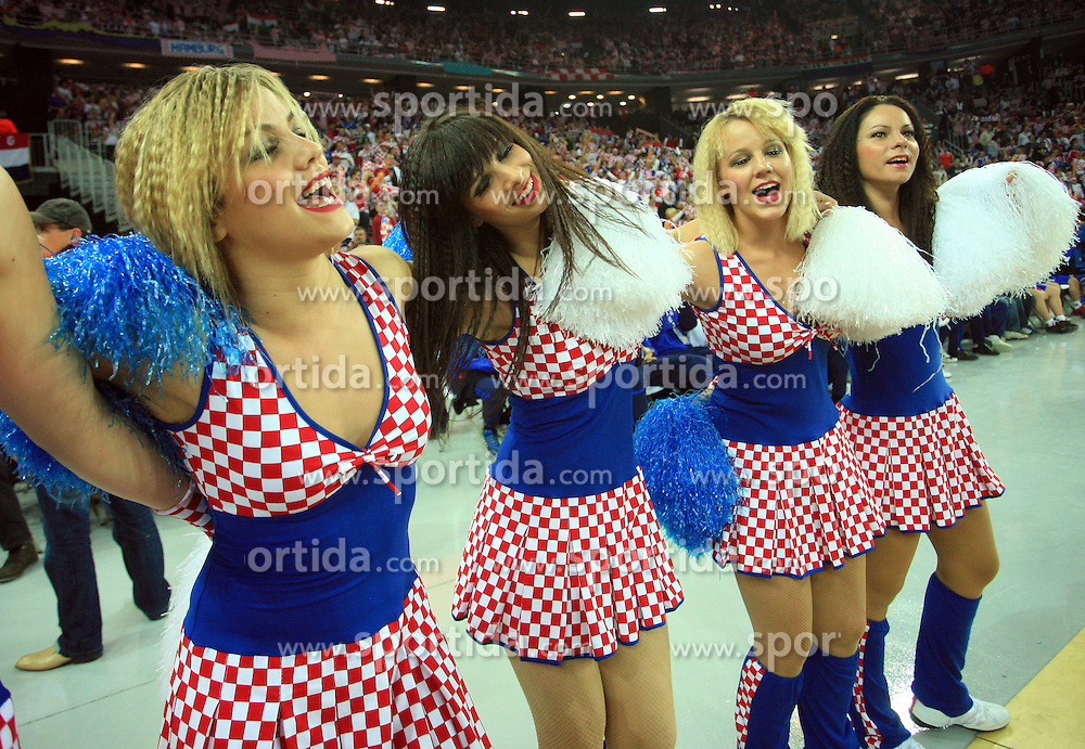 Croatian cheerleaders FlyGirlz during 21st Men's World Handball Championship 2009 Main round Group I match between National teams of Croatia and Hungary, on January 24, 2009, in Arena Zagreb, Zagreb, Croatia.  (Photo by Vid Ponikvar / Sportida)